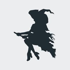 Icono plano silueta bruja en escoba en fondo gris