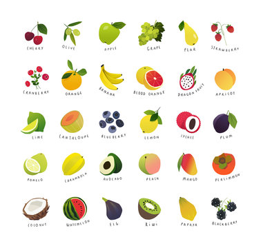 Clipart mini icons of fruits and berries