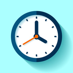Clock icon in flat style, round timer on blue background. Four o'clock. Simple watch. Vector design element for you business projects