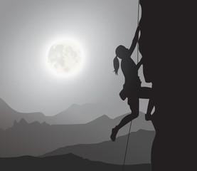 Female Explorer, Rock Climber, Mountaineering, Moonlight