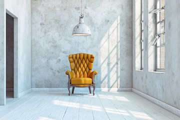 vintage wall with  armchair.