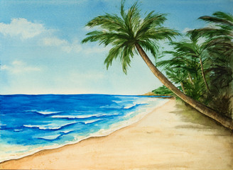 Watercolor seascape with a palm tree