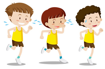 A set of boys exercise