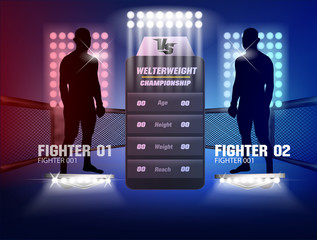 Versus screen design Announcement of two fighters Blue and red corner with lighting and body shadow style.