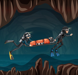 Rescue scene in undergound cave