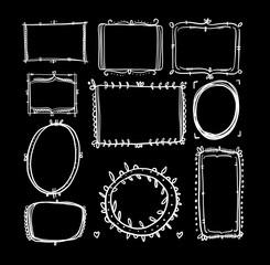 Vector hand drawn frames illustartion.