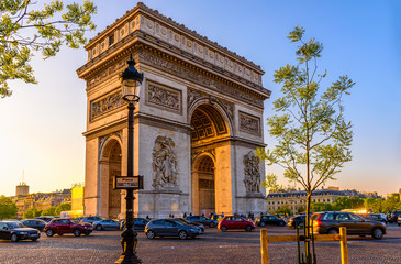 Paris Arc de Triomphe (Triumphal Arch), place Charles de Gaulle in Chaps Elysees at sunset, Paris, France. Wall mural
