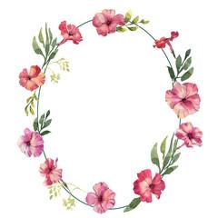 Phlox flowers hand drawn watercolor wreath wedding frame