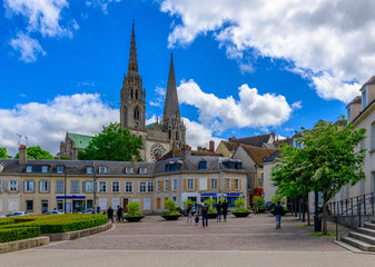 Wall Mural - Old square and view of Chartres Cathedral in small town Chartres, France