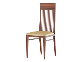 Wooden chair with leather seat on a white background