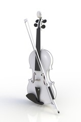 Close up of classical white violin with bow isolated on white background, String instrument, 3d rendering