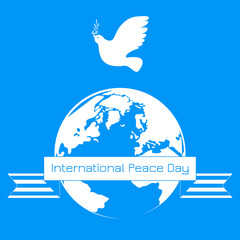 International Peace Day. White dove with olive branch. Planet Earth