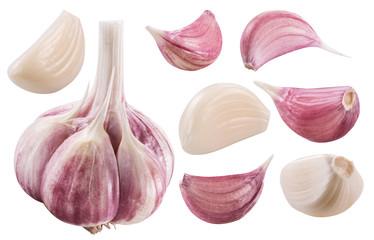 Garlic bulb and garlic cloves. Clipping path.