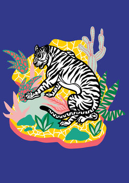 Tiger on yellow Island with plants on blue Background