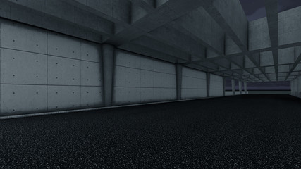Modern road tunnel. 3D Rendering