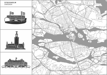 Stockholm city map with hand-drawn architecture icons