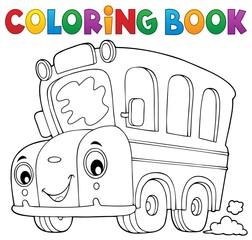 Coloring book school bus theme 5