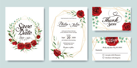 Wedding Invitation, save the date, thank you, RSVP card Design template. Vector. Summer flower, red rose, silver dollar, olive leaves, Wax flower.