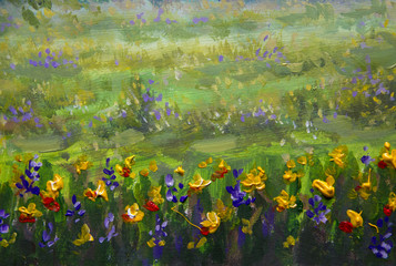 Fine Arts Like Monet impressionism flowers painting claude oil landscape field paint.
