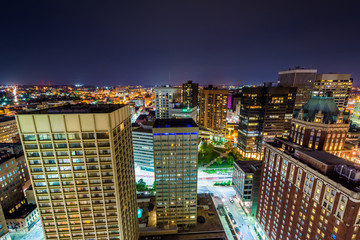 View of downtown at night in Baltimore, Maryland