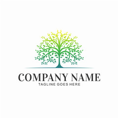 Brand Name Logo with Tree Vector Illustration Design Concept Creative