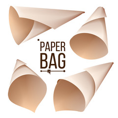 Paper Cone Bag Set Vector. Package, Container Sign, Icon. Different Views. Isolated Realistic Illustration