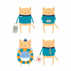 Hand drawn vector illustration of cute funny cat on summer holidays. Isolated objects. Scandinavian style flat design. Concept for children print.
