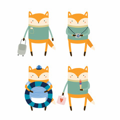 Hand drawn vector illustration of cute funny fox on summer holidays. Isolated objects. Scandinavian style flat design. Concept for children print.