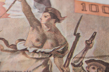closeup of bank note of cent franc, the french vintage money