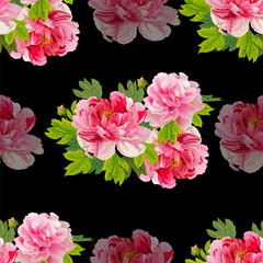 Peonies  and leaves on the  black  background.  Romantic garden flowers illustration.Seamless pattern