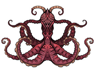 Color illustration of octopus. The object is separate from the background. Illustration for printing on T-shirts, covers, sketches of tattoos and your design.