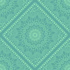 Template Print for Fabric. Pattern of Mandala with Border. Vector illustration. Seamless. For Print Bandana, fashion design