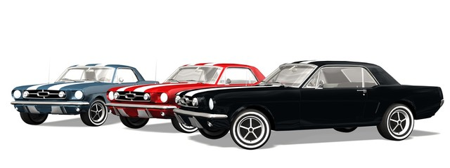 set of Classical Sports Car