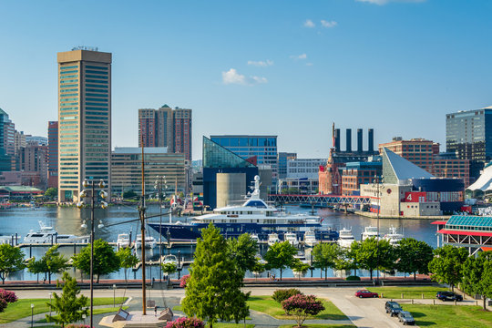 View of the Inner Harbor from Federal Hill Park in Baltimore, Maryland