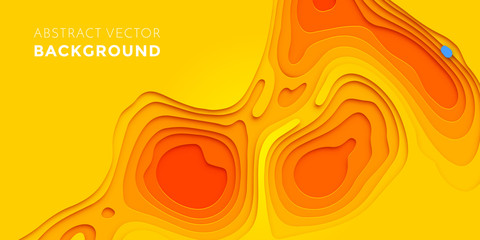 Obraz Abstract papercut and yellow orange color multi layer pattern on vector gradient background - fototapety do salonu