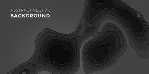 Obraz Papercut geometric black pattern background or liquid 3D cutout with dark gray color multi layer for web banner or poster design - fototapety do salonu