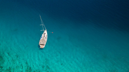 Sailing boat on open water, aerial view