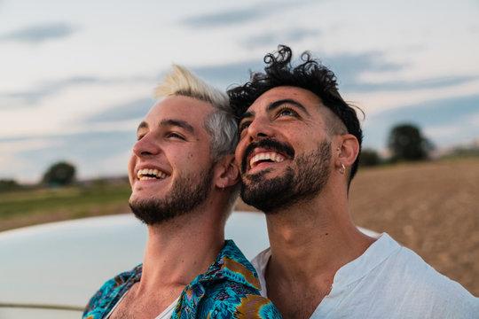 Romantic tender gay in countryside