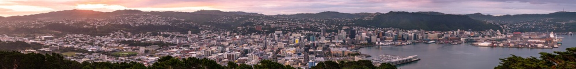 2018, JAN 1 - Wellington, New Zealand, The panorama landscape view of the building and scenery of the city at sunset.