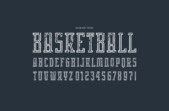 Hollow serif font in the sport style