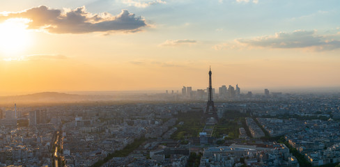 Paris Skyline at sunset with Eiffel Tower view