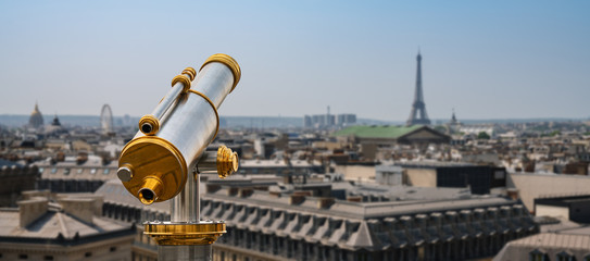 paris skyline with Telescope, france