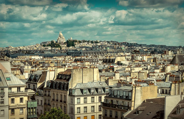 French roofs. Beautiful roofs view in Paris City downtown