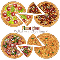 Group of vector colorful illustrations on the pizza theme; several kinds of pizzas from different recipes. Pictures contain realistic shadows and glare.