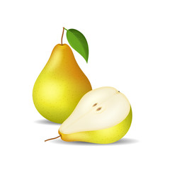 Realistic Detailed 3d Whole Pear and Slice. Vector