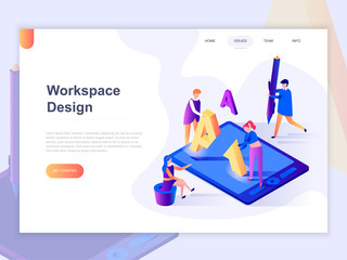 Landing page template of open workspace and coworking. 3D isometric concept of web page design for website and mobile website. Vector illustration.