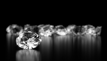 Realistic diamonds on black background, 3D illustration.