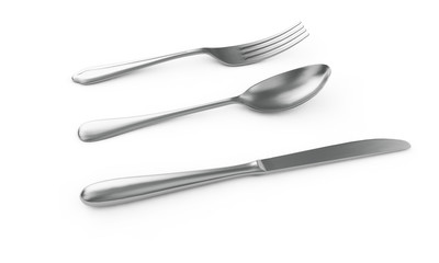 3d rendering of fork on white background