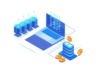 Digital marketing management. 3d coin, servers and laptops.
