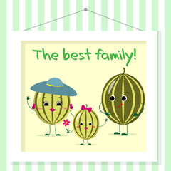 Family of watermelons smileys, mom, dad and kid in cartoon style. Pictured in a painting that hangs on a striped wall.